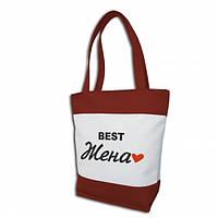 """Женская сумка -""""Best Жена""""(комбинированые ткани)К86 - красно-белая"""