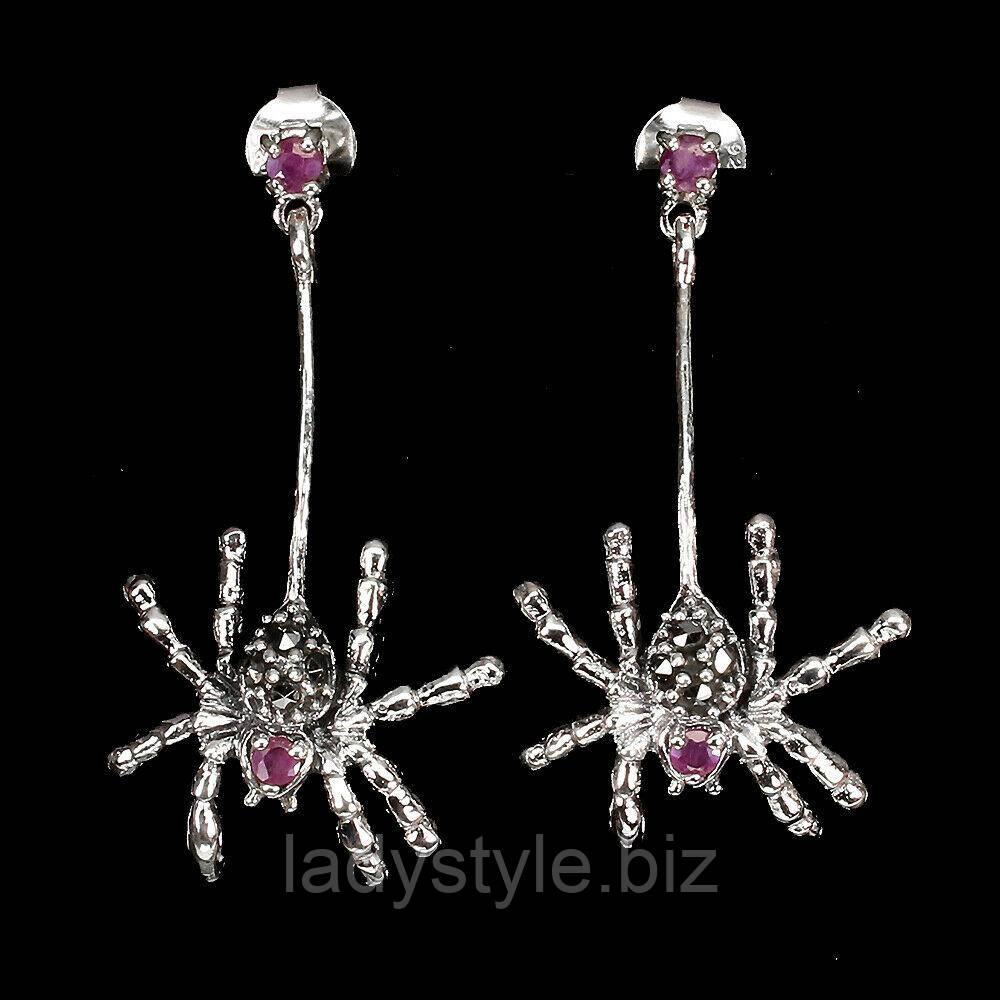 """Срібні сережки з ларимаром і топазами """"Черепашки"""", від студії LadyStyle.Biz"""
