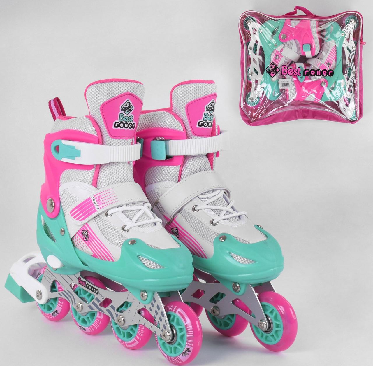 Детские ролики 80065-М Best Roller р.34-37, колёса PVC, свет переднего колеса, d колёс7 см роликовые коньки