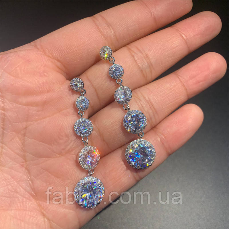 Lux Сережки з посрібленням та діамантами ювелірними (циркони)