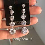 Lux Сережки з посрібленням та діамантами ювелірними (циркони), фото 4