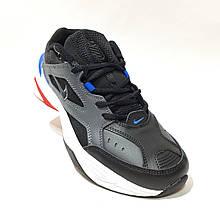 Чоловічі кросівки з натуральної шкіри Nike Air (Найк Аїр Монарх) Чорно-сірі