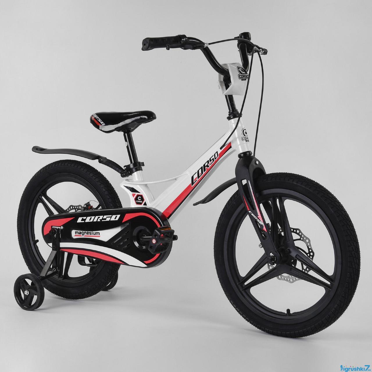 """Детский велосипед """"CORSO"""" 18 дюймов MG-18405 магниевая рама дисковые тормоза"""