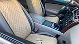Накидки для авто зі шкірозамінника, Темно-бежевий, Стандарт, 2 передніх, фото 2
