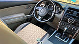 Накидки для авто зі шкірозамінника, Темно-бежевий, Стандарт, 2 передніх, фото 5