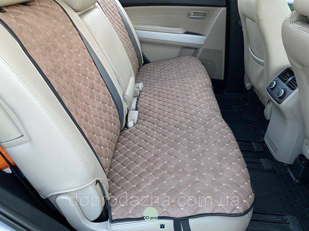 Накидки задні для авто з перфорованої екошкіри, Світло-коричневі
