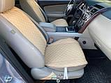 Накидки для авто зі шкірозамінника, Темно-бежевий, Преміум, 2 передніх, фото 4