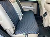 Накидки для авто з перфорованої екошкіри, Чорні з синьою стрічкою, Преміум, Повний комплект, фото 4