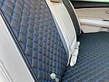 Накидки для авто з перфорованої екошкіри, Чорні з синьою стрічкою, Преміум, Повний комплект, фото 5