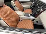 Накидки для авто з перфорованої екошкіри, коричневі з коричневої рядком, Преміум +, Передній комплект, фото 2