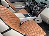 Накидки для авто з перфорованої екошкіри, коричневі з коричневої рядком, Преміум +, Передній комплект, фото 3