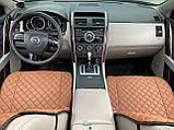 Накидки для авто з перфорованої екошкіри, коричневі з коричневої рядком, Преміум +, Передній комплект, фото 4