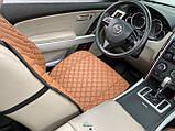 Накидки для авто з перфорованої екошкіри, коричневі з коричневої рядком, Преміум +, Передній комплект, фото 5