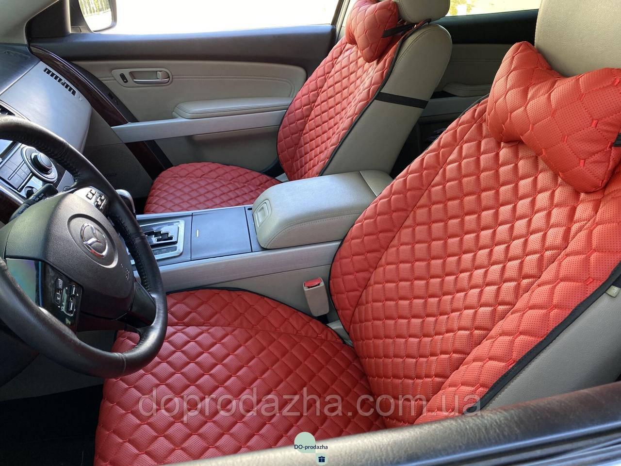 Накидки для авто з перфорованої екошкіри, червоні з червоною строчкою, Преміум +, Передній комплект