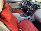Накидки для авто з перфорованої екошкіри, червоні з червоною строчкою, Преміум +, Передній комплект, фото 2