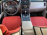 Накидки для авто з перфорованої екошкіри, червоні з червоною строчкою, Преміум +, Передній комплект, фото 4