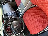 Накидки для авто з перфорованої екошкіри, червоні з червоною строчкою, Преміум +, Передній комплект, фото 5