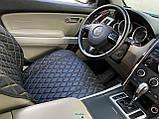 Накидки для авто з екошкіри, чорні із золотою рядком, Преміум +, Повний комплект, фото 2