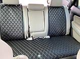 Накидки для авто з екошкіри, чорні із золотою рядком, Преміум +, Повний комплект, фото 3