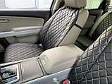 Накидки для авто з екошкіри, чорні із золотою рядком, Преміум +, Повний комплект, фото 5