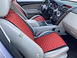 Накидки для авто з перфорованої екошкіри, Червоні, Стандарт, Передній комплект, фото 3