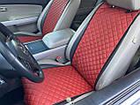 Накидки для авто з перфорованої екошкіри, Червоні, Стандарт, Передній комплект, фото 4