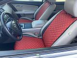 Накидки для авто з перфорованої екошкіри, Червоні, Стандарт, Передній комплект, фото 5