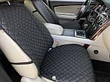 Накидки для авто з перфорованої екошкіри, Чорні з чорним рядком, Преміум +, Передній комплект, фото 3