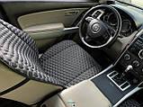 Накидки для авто з екошкіри, Чорні стільники з подвійною білою строчкою, Преміум +, Передній комплект, фото 2