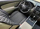 Накидки для авто з екошкіри, Чорні з подвійною білою строчкою, Преміум +, Передній комплект, фото 2