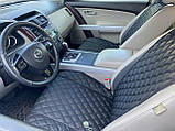 Накидки для авто з екошкіри, Чорні з подвійною чорною стрічкою, Преміум, Передній комплект, фото 5
