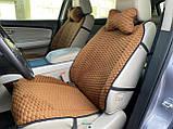 Накидки на сидіння з алькантари Lux (штучної замші), Коричневий, коричневі стільники. Преміум +. 2 передніх, фото 2