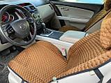 Накидки на сидіння з алькантари Lux (штучної замші), Коричневий, коричневі стільники. Преміум +. 2 передніх, фото 3