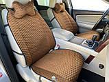 Накидки на сидіння з алькантари Lux (штучної замші), Коричневий, коричневі стільники. Преміум +. 2 передніх, фото 4