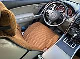 Накидки на сидіння з алькантари Lux (штучної замші), Коричневий, коричневі стільники. Преміум +. 2 передніх, фото 5