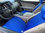 Накидки на сидіння з алькантари Lux (штучної замші), Синій, сині стільники. Преміум . 2 передніх, фото 2