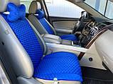Накидки на сидіння з алькантари Lux (штучної замші), Синій, сині стільники. Преміум . 2 передніх, фото 4