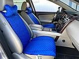 Накидки на сидіння з алькантари Lux (штучної замші), Синій, сині стільники. Преміум . 2 передніх, фото 5