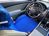 Накидки на сидіння з алькантари Lux (штучної замші), Синій, сині стільники. Преміум . 2 передніх, фото 6