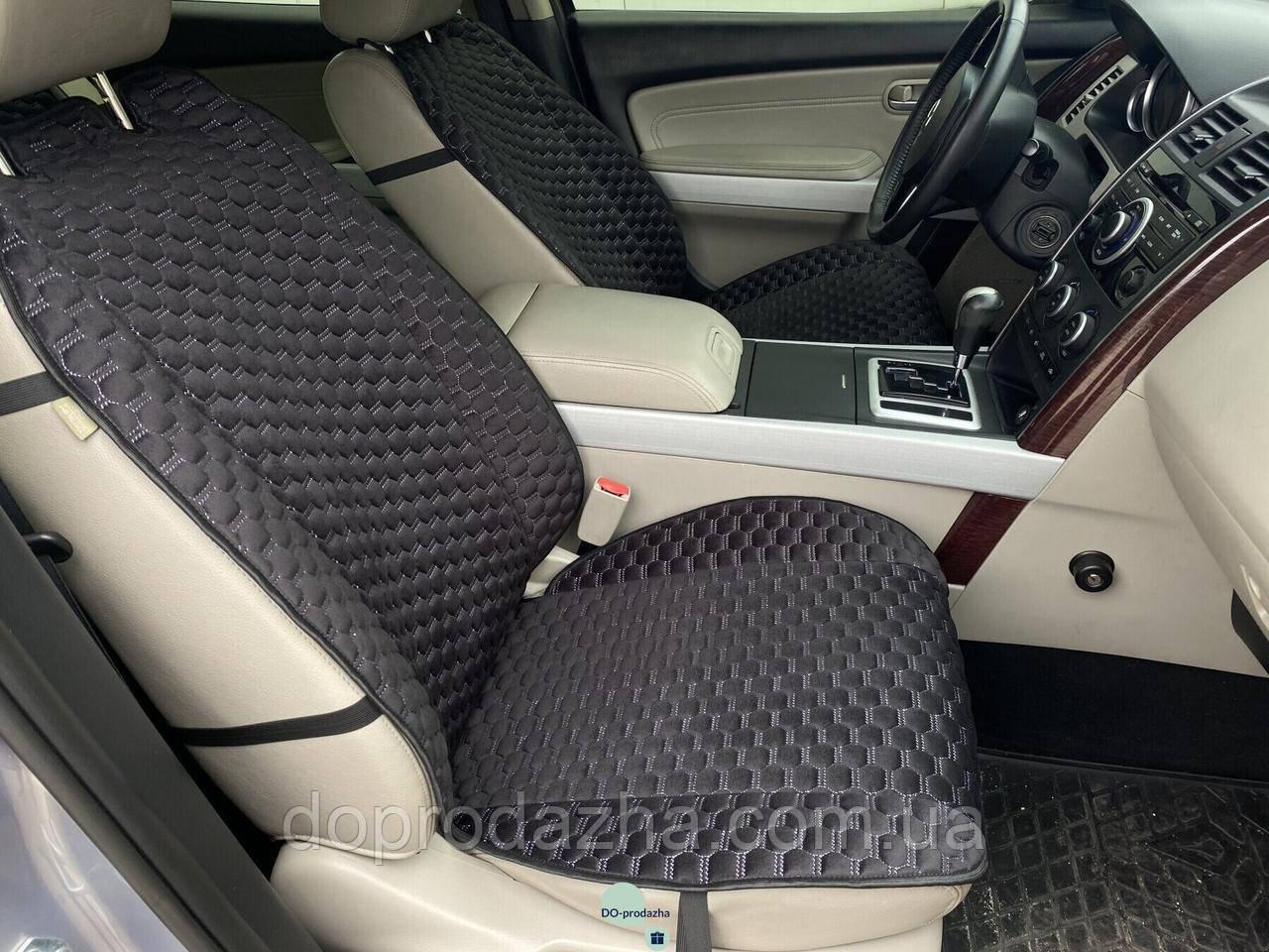 Накидки на сидіння з алькантари Lux (штучної замші), Чорний, білі стільники. Преміум +. 1 передня