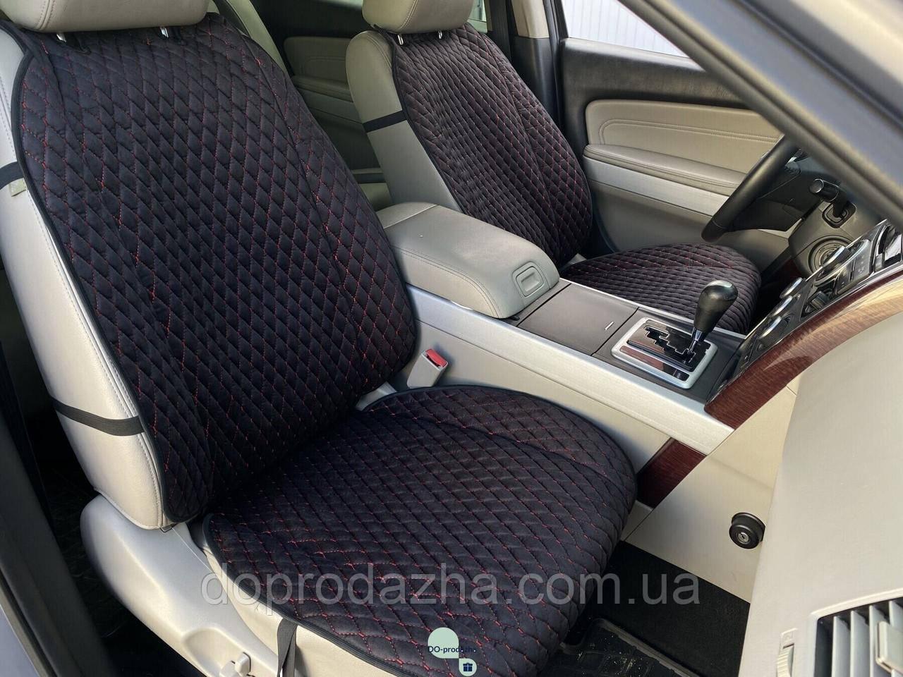 Накидки на сидіння з алькантари Lux (штучної замші), Чорний, червоний ромб. Преміум +. 1 передня