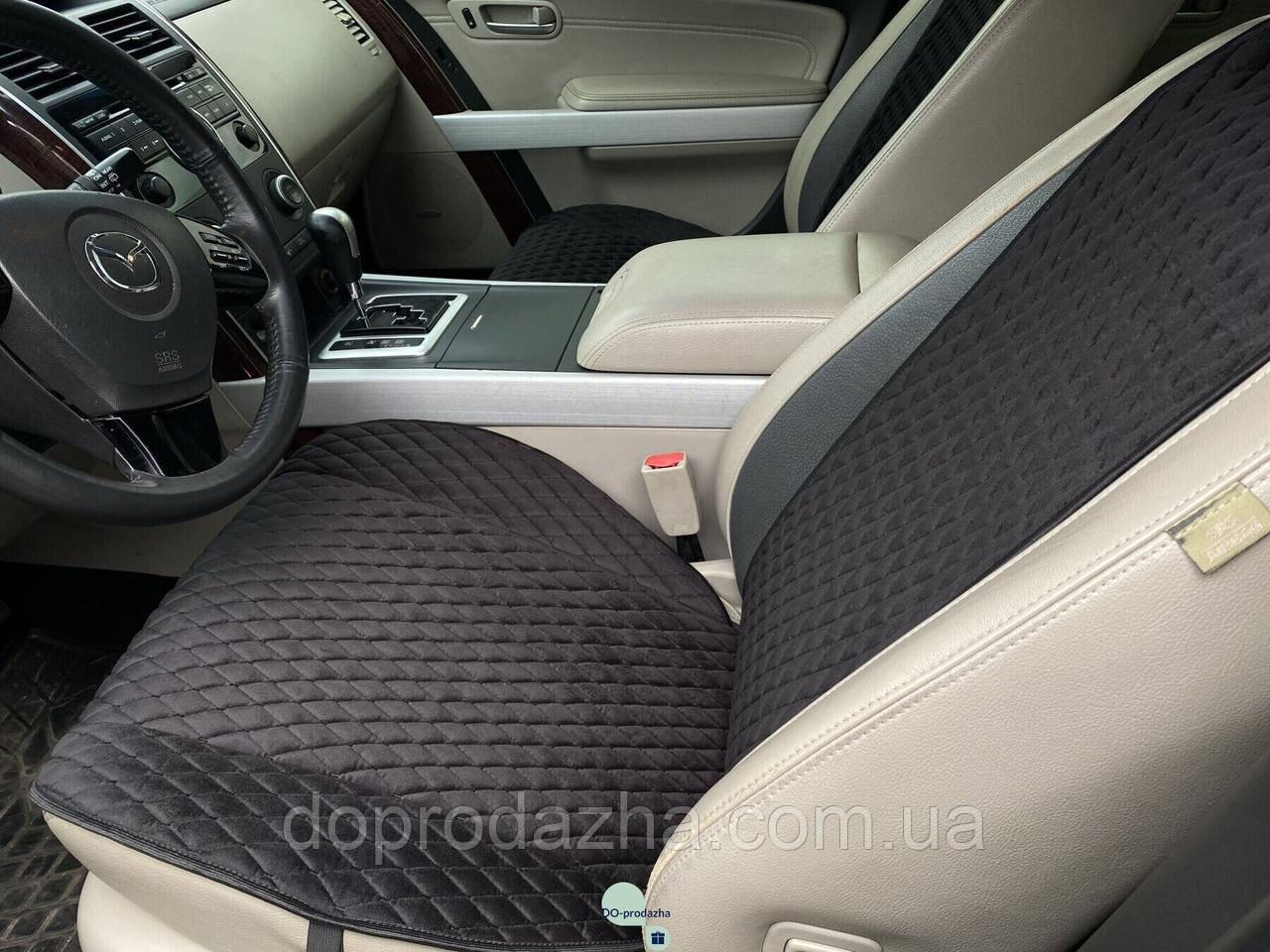 Накидки на сидіння з алькантари Lux (штучної замші), Чорний, чорний ромб. Преміум. 1 передня