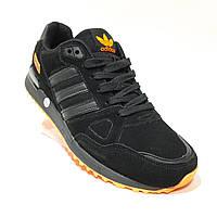 43, р. Мужские кроссовки из натуральной кожи Адидас zx 750 (Adidas) Черные Последняя пара