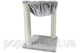 Когтеточка-лежанка AnimAll с бубоном для кошек, сизаль, серая, 40х40х50 см