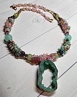 Красивый  кулон в подарок девушке из натурального камня - друза агата, фото 1