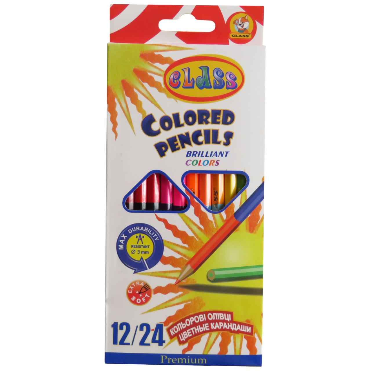 Карандаши цветные двусторонние Class 1612/24/2 12 штук 24 цвета