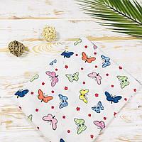 Муслиновая хлопковая детская пеленка для девочки бабочки Lukoshkino ® Размер 80*100 см. MP-110