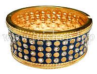 Браслет жесткий под золото со стразами «ЗВЕЗДНЫЙ ЧАС» черный