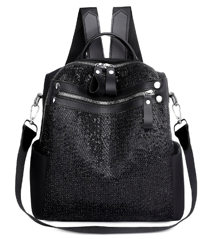 Рюкзак-сумка жіноча з блискітками нейлон чорний