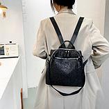 Рюкзак-сумка жіноча з блискітками нейлон чорний, фото 2
